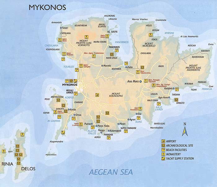 Map Of The Island Of Mykonos