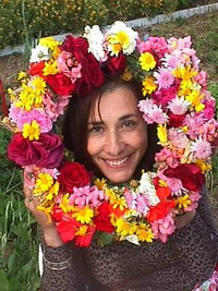 Loula: Wife of George the famous Taxi driver with the wreath she made from the wildflowers she picked from the walk we took