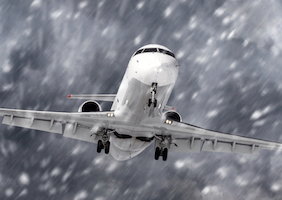 Plane in snowstorm