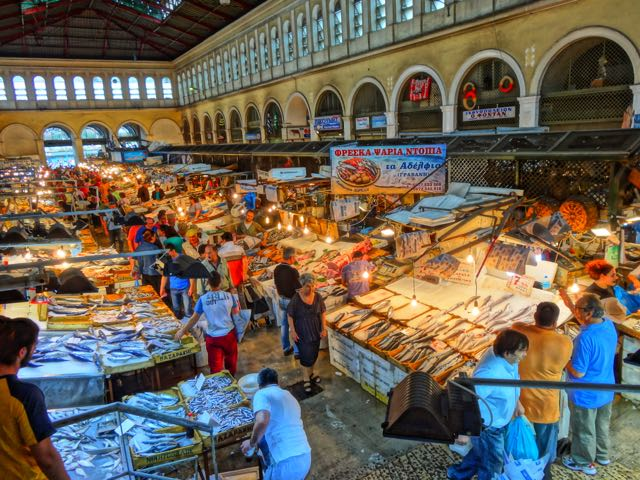 Greek food fish and seafood for Central fish market