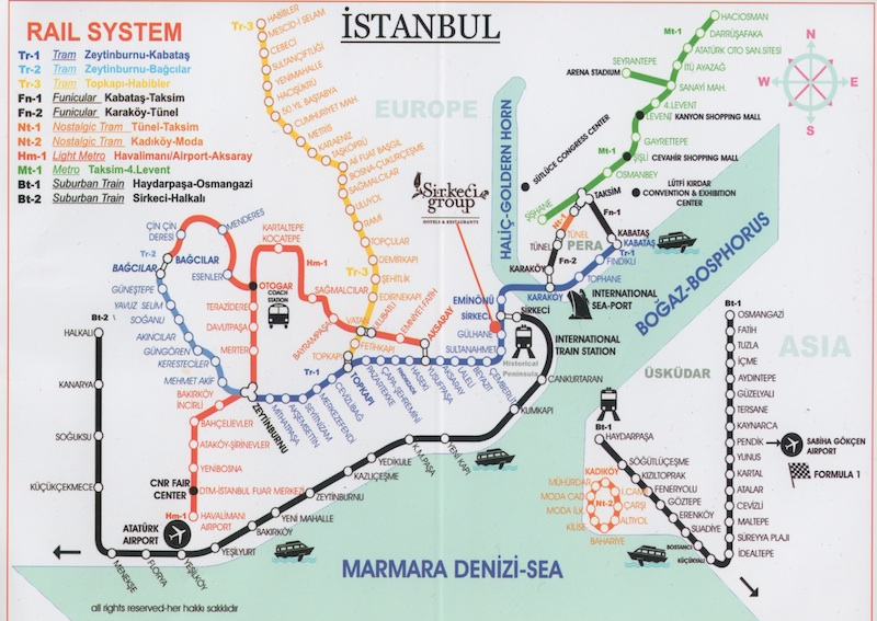 Istanbul Rail and Ferry Maps